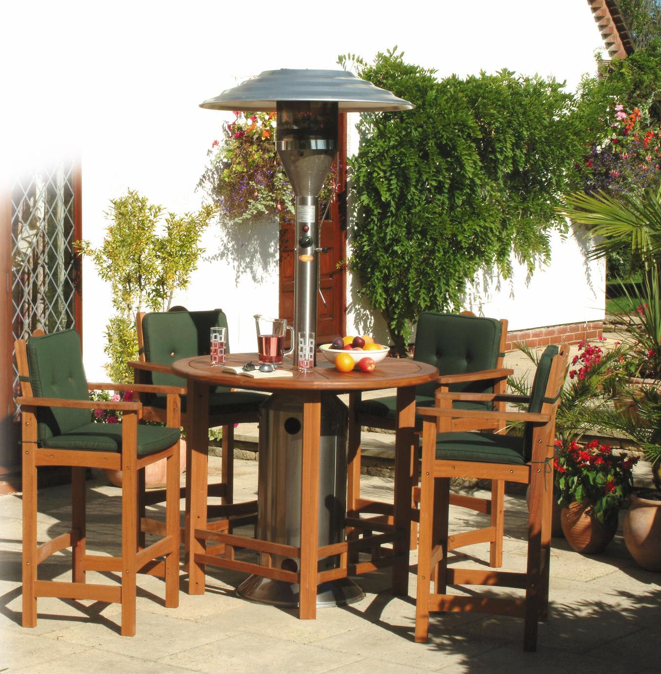 De bermudaset. 120 cm tafelblad, stevig hardhout fsc (yellow balau). 4 stoelen, inclusief kussens.de hoge ...