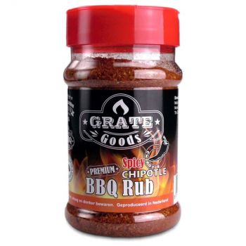 GRATE GOODS PREMIUM SPICY CHIPOTLE BBQ RUB 180 GR STROOIBUS  WWW.TUINARTIKELTOTAAL.NL