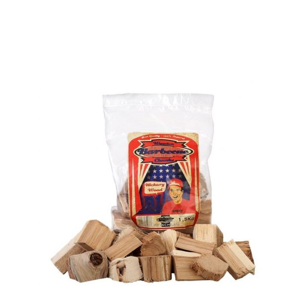AXTSCHLAG ROOKHOUT HICKORY CHUNKS 1,5 KG  WWW.TUINARTIKELTOTAAL.NL