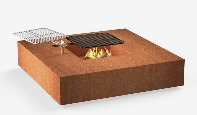Vuurtafel Forno Cortenstaal Vierkant + Grill
