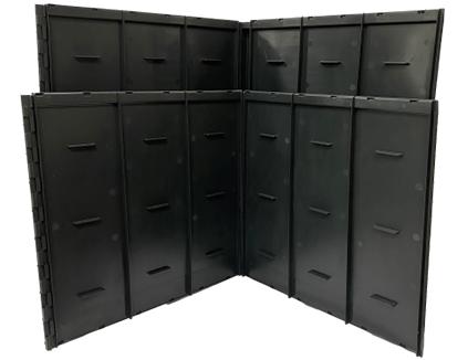 Wortelgeleidingspaneel Uitschuifbaar (TRG45 Hoek 90°) - Zwart, vaste koppelstukken, wortelankers en