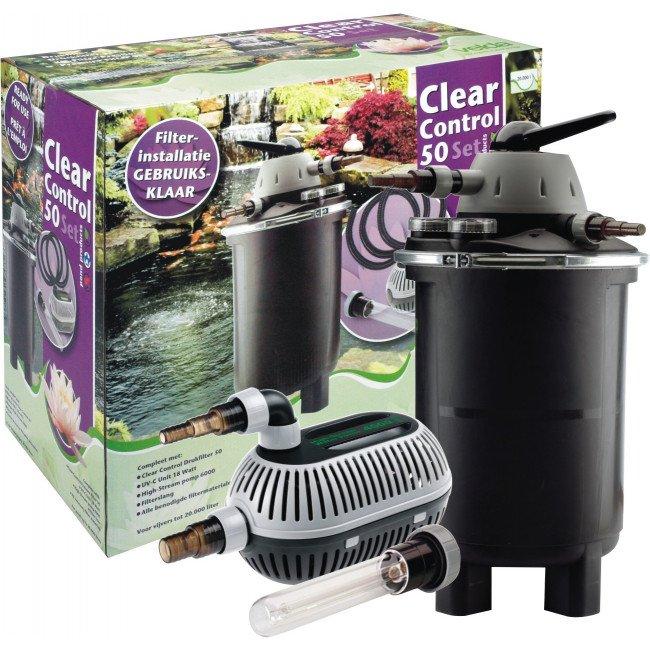 Velda clear control 50 drukfilter set tuinartikel totaal for Filter vijver schoonmaken